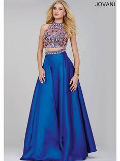 Jovani 32440 BOHO Beaded Two Piece Crop Top Royal Blue Prom Dress