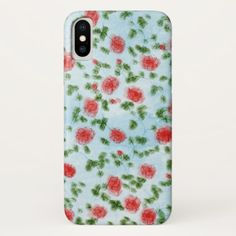Pretty Watercolor Red Roses Floral Pattern iPhone X Case - rose style gifts diy customize special roses flowers