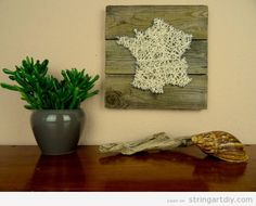 Cute Rustic decoration France map String Art DIY