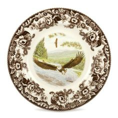 "Spode Woodland Dinner Plate(s)-Bald Eagle by Spode - Earthenware. $29.99. Brand New - First Quality. Dimensions: 10 1/2"" Dia. Dinner Plate(s)-Bald Eagle - Brown Floral Border - Off-White Background - Various Wildlife Motifs In Natural Settings - Made In Imported"