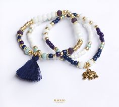 stack bracelets, bracelet, bracelets, beads, crystals, tassel, navy, gold, purple, white, mint, dark blue, beautiful, fashion, trend, style, street style, casual, autumn, winter, narukvice, boho, bohemian, boho chic, hippie, gypsy