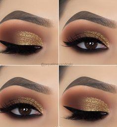 15 Alluring Golden Smokey Eye Makeup Ideas - - - 15 Alluring Golden Smokey Eye Makeup Ideas - Beauty Makeup Hacks Ideas Wedding Makeup Looks for Women Ma. Eye Makeup Designs, Eye Makeup Tips, Makeup Hacks, Makeup Inspo, Hair Makeup, Makeup Ideas, Makeup Products, Makeup Kit, Eye Makeup Tutorials