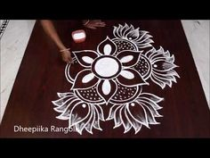 creative art lotus rangoli design for festivals * freehand lotus kolam * easy rangoli Rangoli Designs Latest, Simple Rangoli Designs Images, Rangoli Designs Flower, Rangoli Border Designs, Rangoli Designs Diwali, Rangoli Designs With Dots, Beautiful Rangoli Designs, Rangoli Borders, Rangoli Patterns