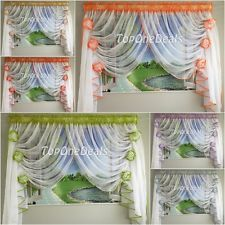 Amazing White Ready Made Voile Net Curtain with Flowers Red Green Blue Purple