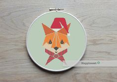 christmas cross stitch pattern fox geometric pattern by Happinesst