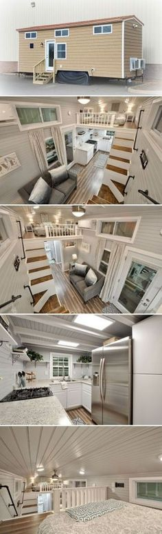 Kate is a turn-key tiny home by Fredericksburg, Virginia-based Tiny House Building Company. The house includes two king size bedroom lofts. house design stairs Kate by Tiny House Building Company - Tiny Living Tyni House, Tiny House Loft, Best Tiny House, Tiny House Living, Tiny House Plans, Tiny House On Wheels, Tiny House Design, House Stairs, House Ladder
