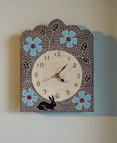 Flower and Rabbit Clock Sgraffito, Tile Design, Rabbits, Terracotta, Clocks, Tiles, Applique, Clay, Pottery