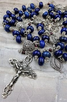 Sterling Silver Sacred Heart Heirloom Lapis Lazuli Wisdom,Power,Success,Truth,Peace,Stress Ornate Bali Filigree Rosary