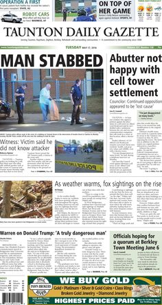 The front page of the Taunton Daily Gazette for Tuesday, May 17, 2016.