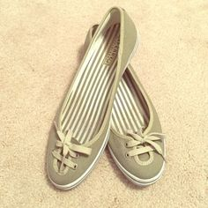Sperry slip-on flats Cute, grey-green slip on shoes from Sperry Top-Sider. Size 9.5 but run somewhat big. Used, some wear on the inner lining but good condition and still have a lot of wear in them! Sperry Top-Sider Shoes Flats & Loafers