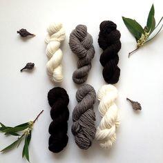 Yarn Cormo Wool Mini Skeins Sample Pack. Fingering Aran Weight Natural Black, White and Grey.