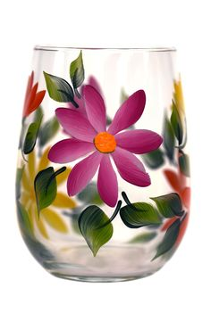 Colorful daisies and green leaves hand-painted encircling a quality 17 oz stemless wine glass. Sealed and heat-cured for added durability. Top-rack dishwasher safe; hand-washing preferred.