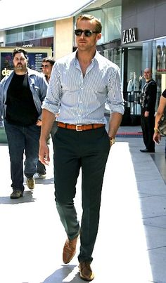 Ryan Gosling: striped shirt and slim cut but not skinny dress pants. dark blue and camel