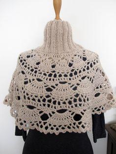 CROCHETBUTTERFLY: Crochet Capelet Turtleneck Neckwarmer Hand Knitted Champagne Beige