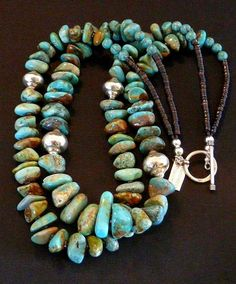 Royston Turquoise Two-Strand Graduated Nugget Necklace with Pen Shell Heishi and Sterling Silver