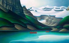 Lake Louise, by Dana Irving Landscape Art, Landscape Paintings, Group Of Seven Paintings, Rug Inspiration, Canadian Artists, Conceptual Art, Art Sketches, Illustration Art, Illustrations