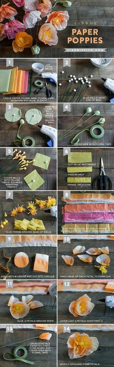 DIY Tissue Paper Poppies - and many more paper flowers on this website Faux Flowers, Diy Flowers, Fabric Flowers, Diy Paper, Paper Crafts, Diy Crafts, Diy Fleur, Fleurs Diy, Deco Originale