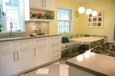 Eye-Catching Minimalist Mid-Century Kitchen Designs in Green Paint Mixed Modern White Cabinetry and Solid Backsplash 1960s Kitchen, Updated Kitchen, Kitchen Redo, Vintage Kitchen, Kitchen Ideas, Kitchen Designs, 1960s Decor, Maple Kitchen, Kitchen Remodel Before And After