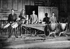 Royal Concertgebouw percussion and timpani, 1955.  Tom van Dijk, Jan Straatmans, Gerard Smeekes, Jan Labordus