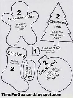 Felt Christmas ornament patterns and tutorial. - Felt Christmas ornament patterns and tutorial. Felt Christmas ornament patterns and tutorial. Felt Christmas Decorations, Felt Christmas Ornaments, Christmas Diy, Black Christmas, Christmas Quotes, Christmas Music, Christmas Holiday, Vintage Christmas, Christmas Projects