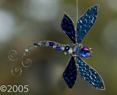 Stained Glass Beaded Dragonfly $23