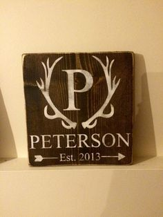 Rustic handpainted Personalized wood sign - Antlers with Monogram by RusakCustomCreations on Etsy https://www.etsy.com/listing/218411404/rustic-handpainted-personalized-wood