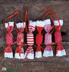 wrapped in textile - sweet idea Christmas Fabric Crafts, Diy Christmas Decorations Easy, Christmas Sewing, Christmas Love, Valentine Decorations, Handmade Decorations, Diy Christmas Ornaments, Handmade Christmas, Diy And Crafts