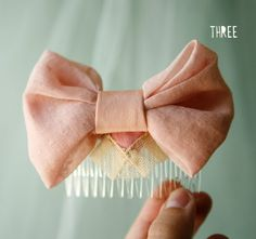 pink hair comb with vintage lace