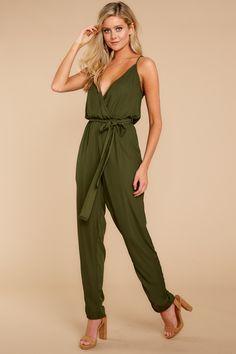 ce092680a406 Gorgeous Olive Green Jumpsuit - Trendy Playsuit - Jumpsuit -  52.00 – Red  Dress Boutique Olive