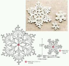 I love snowflakes. I love to crochet them and to decorate with them. We use them as Christmas tree ornaments and on hanging wreath. Every year I'm asked to share crochet snowflakes diagrams& Crochet Diy, Thread Crochet, Crochet Motif, Irish Crochet, Crochet Crafts, Crochet Doilies, Crochet Flowers, Crochet Stitches, Crochet Projects