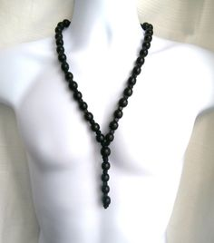 ETHNIC INSPIRED: MENS TRIBAL CHUNKY 25 LONG BLACK WOOD BEAD PENDANT NECKLACE