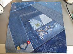 My Crazy Quilt Jeans quilt project - #8
