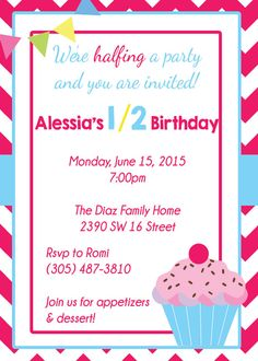 1 2 Birthday Invitation 6 Month By MemorableImprints Half 12th