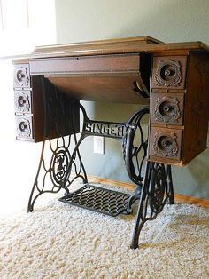 the story of our vintage singer sewing machine, painted furniture, repurposing upcycling, Antique Singer Sewing Machine