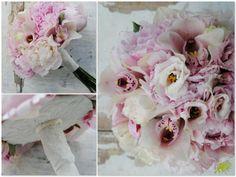 ramo de novia con peonias rosas y orquídeas r.Ramo vintage. mayula Flores