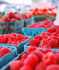 fresh raspberries at the Little Italy Mercato, farmers' market - largest in San Diego with more than 130 merchants lining Date Street in Little Italy every Saturday from 8am to 2pm
