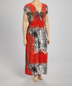 Look what I found on #zulily! Red Animal Maxi Dress - Plus #zulilyfinds
