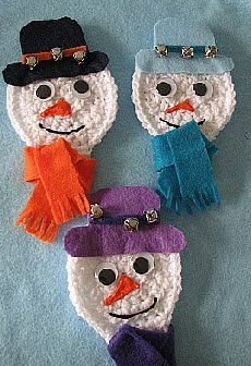 Snowman Ornament or Gift Card Holder Free Crochet Pattern