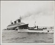 [S. S. Normandie at the time of her arrival in New York Harbor.]