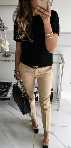 #fall #outfits  Black Top   Beige Pants   Black Tote Bag