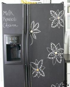 Chalkboard Refrigerator Paint., smart for a cheap fridge that isn't very cute