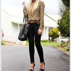 Leopard chiffon blouse Long sleeve chiffon leopard blouse v neck double breasted pockets Tops Blouses