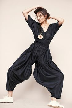 Electric Feathers FW14  black silk jumpsuit