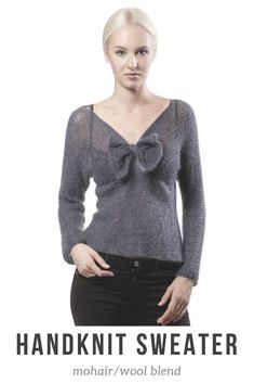 Handknit sweater with bow in mohair/wool/yak blend. Perfect for spring or cooler summer nights. #ad #handknit #handmade #knitting