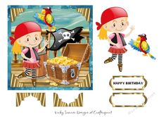 """Even little girls want to be pirates sometimes  6x6"""" topper with elements  PU/CU allowed for hand made items"""
