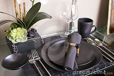 Elegant place settings on facebook | Elegant black table place setting including plates, crystal wine glass ...