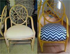 Bamboo Chair Makeover - yellow paint - huge difference!