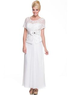 A Line Scoop Neck Ankle Length Mother Of The Bride Evening Chiffon Dress WIth Ruffle Lace