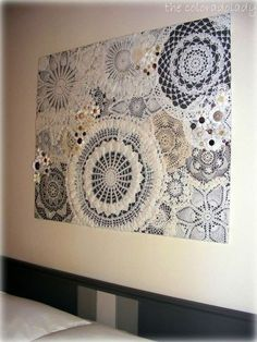 Coloradolady: Vintage Thingie Thursday: Wall Art Using Vintage Doilies and Vintage Buttons Doily Art Doilies Crafts, Lace Doilies, Crochet Doilies, Framed Doilies, Diy Wall Art, Wall Decor, Doily Art, Lace Art, Diy And Crafts