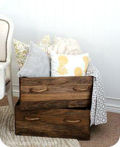 Homemade vintage wood crate storage